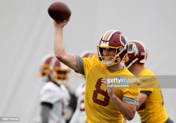 Washington Redskins quarterback Kirk Cousins in action during an OTA practice session on May 31 at Inova Sports Performance Center at Redskins Park...