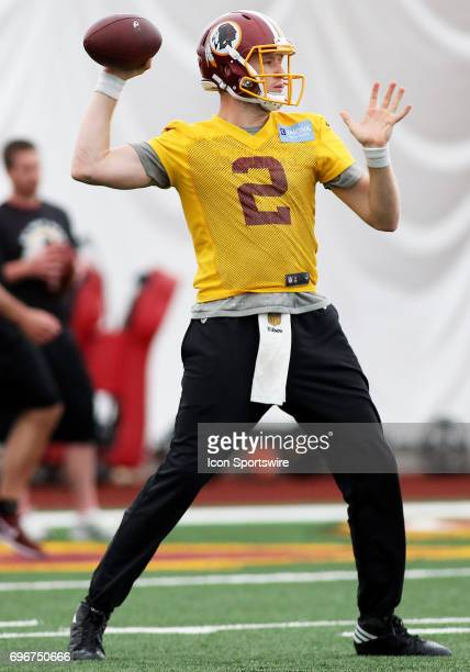 Washington Redskins quarterback Nate Sudfeld in action during an OTA practice session on May 31 at Inova Sports Performance Center at Redskins Park...