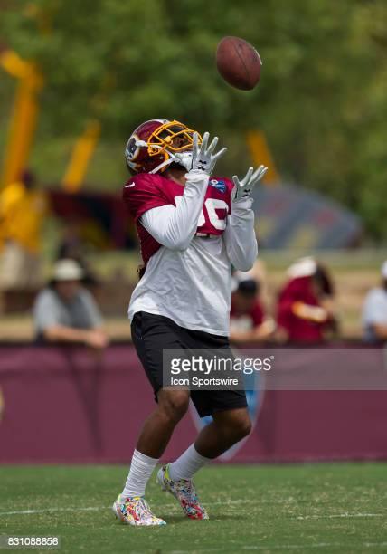 Washington Redskins returner Kendall Fuller receives a punt during Redskins training camp on August 12 2017 at Bon Secours Training Center in...