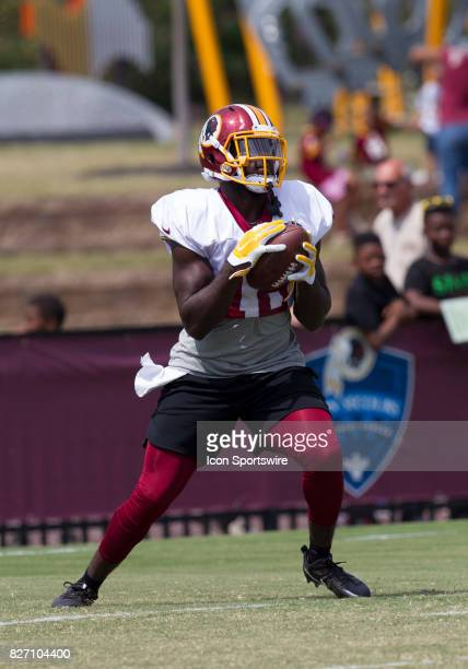 Washington Redskins returner Zach Pascal receives a kickoff during Redskins training camp practice on August 6 2017 at Bon Secours Training Center in...