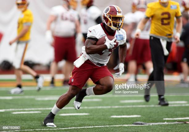 Washington Redskins running back Mack Brown in action during an OTA practice session on May 31 at Inova Sports Performance Center at Redskins Park in...