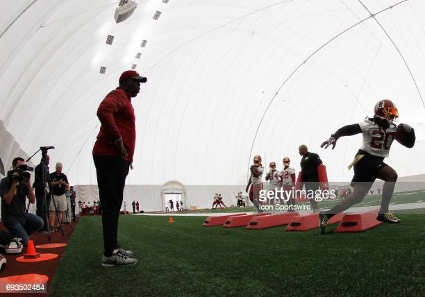 Washington Redskins running back Rob Kelley in action during an OTA practice session on June 07 at Inova Sports Performance Center at Redskins Park...