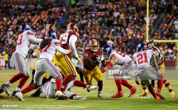 Washington Redskins running back Samaje Perine goes for the end zone during a NFL game between the Washington Redskins and the New York Giants on...