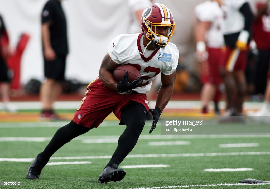 Washington Redskins running back Samaje Perine (32) in action during an OTA practice session on May 31, 2017, at Inova Sports Performance Center at Redskins Park in Ashburn, Virginia.