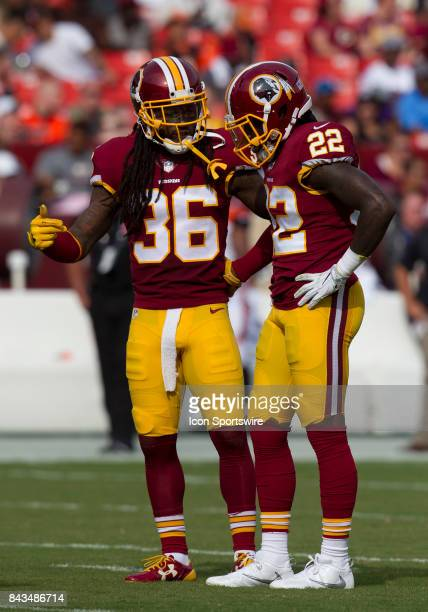 Washington Redskins safeties DJ Swearinger and Deshazor Everett discuss strategy during the NFL preseason game between the Cincinnati Bengals and the...