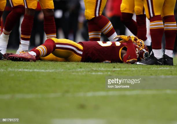 Washington Redskins safety DJ Swearinger is knocked out cold during a football game between the San Francisco 49ers and Washington Redskins on...