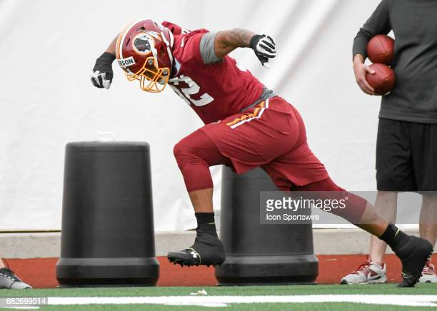 Washington Redskins second round pick linebacker Ryan Anderson participates in the Redskins rookie minicamp on May 13 at Redskins Park in Loudoun...