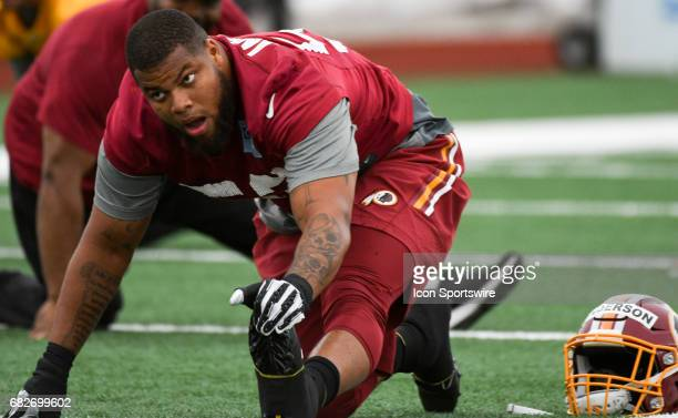 Washington Redskins second round pick linebacker Ryan Anderson participates in the the Redskins rookie minicamp on May 13 at Redskins Park in Loudoun...