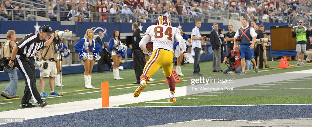 Washington Redskins tight end Niles Paul (84) back steps into the endzone for a 4th quarter touchdown with no Dallas Cowboys defenders in sight on a 3rd an 1 on November. 22, 2012 in Arlington, TX