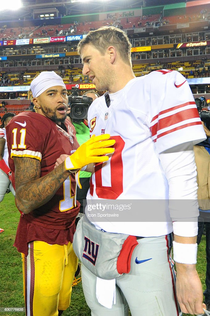 Washington Redskins wide receiver DeSean Jackson (11) congratulates New York Giants quarterback Eli Manning (10) following their game on January 1, 2017, at FedExField in Landover, MD. The New York Giants defeated the Washington Redskins, 19-10.