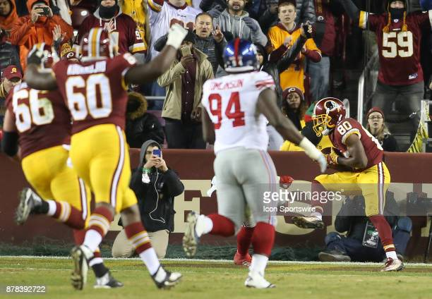 Washington Redskins wide receiver Jamison Crowder holds onto the ball for the Redskins first touchdown during a NFL game between the Washington...
