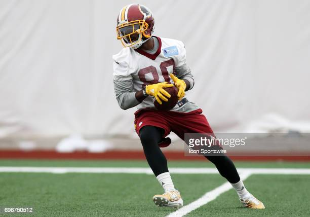 Washington Redskins wide receiver Jamison Crowder in action during an OTA practice session on May 31 at Inova Sports Performance Center at Redskins...