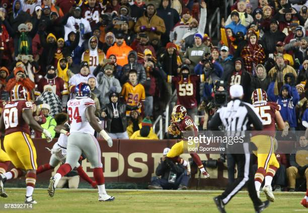 Washington Redskins wide receiver Jamison Crowder in the end zone for the Redskins first touchdown during a NFL game between the Washington Redskins...