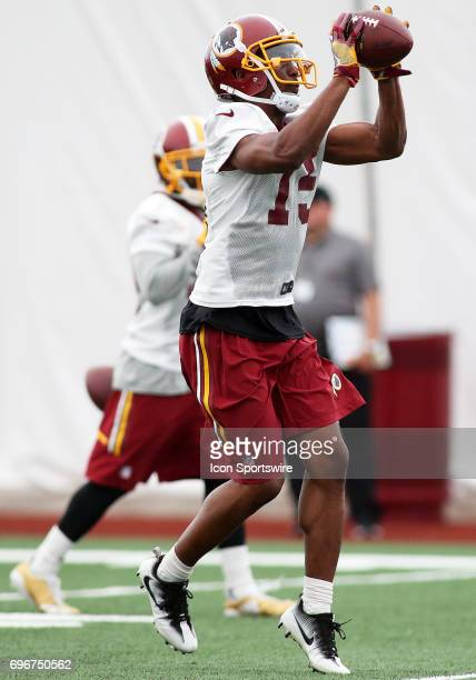 Washington Redskins wide receiver Matt Hazel in action during an OTA practice session on May 31 at Inova Sports Performance Center at Redskins Park...