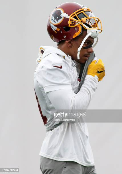 Washington Redskins wide receiver Terrelle Pryor Sr in action during an OTA practice session on May 31 at Inova Sports Performance Center at Redskins...