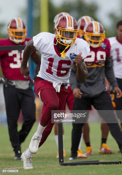 Washington Redskins wide receiver Zach Pascal participates in position drills during Redskins training camp on August 12 2017 at Bon Secours Training...