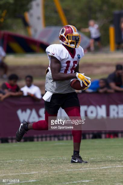 Washington Redskins wide receiver Zach Pascal rushes upfield during Redskins training camp practice on August 6 2017 at Bon Secours Training Center...
