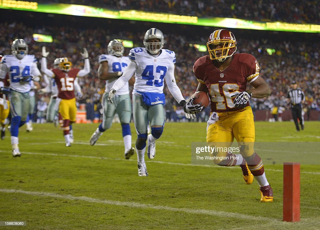 Washington running back Alfred Morris (46) heads for the endzone and a second-quarter touchdown to tie the score at 7 as the Washington Redskins play the Dallas Cowboys for first place of the NFC East division and a playoff spot at FedEx in Landover MD, December 30, 2012 .