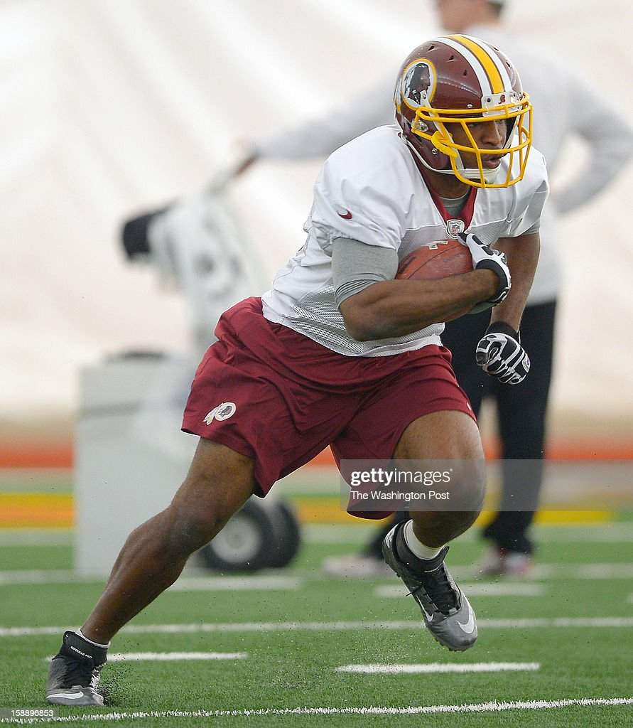 Washington running back Alfred Morris (46) runs drills as the Washington Redskins practice for the upcoming playoff game against the Seattle Seahawks in their indoor practice facility at Redskins Park in Ashburn VA, January 2, 2012 .