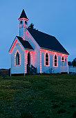 USA, Washington, San Juan Island, church decorated with Christmas lights