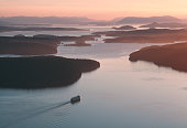 USA, Washington, San Juan Islands, ferryboat sailing toward island