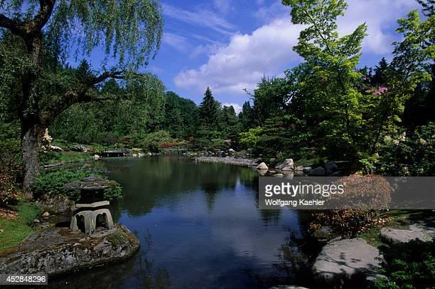 USA Washington Seattle Arboretum Japanese Garden In Springtime Pond Stone Lantern
