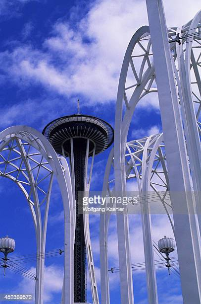 USA Washington Seattle Center Gothic Arches Of The Pacific Science Center With Space Needle