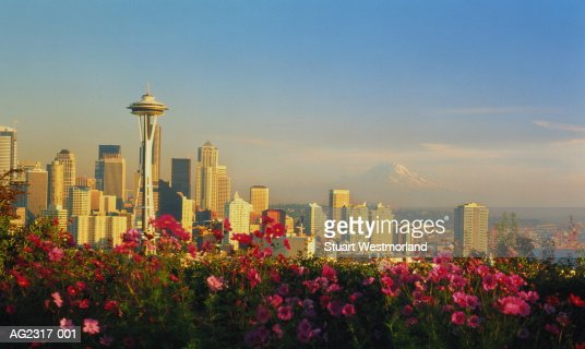 USA, Washington, Seattle, city skyline, flowers in foreground : Stock Photo