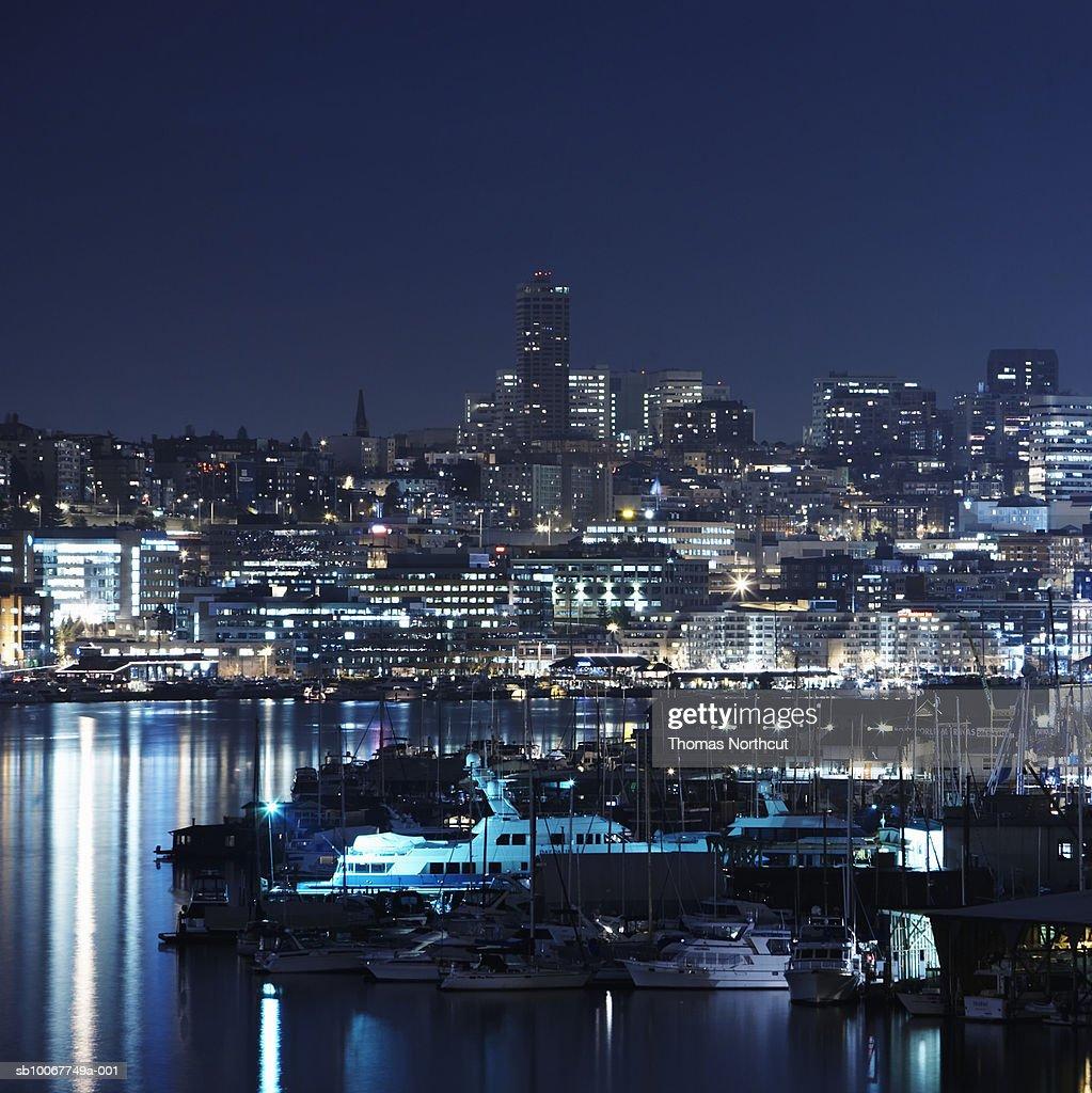 Washington, Seattle, Lake Union, Cityscape and harbour at night : Stock Photo