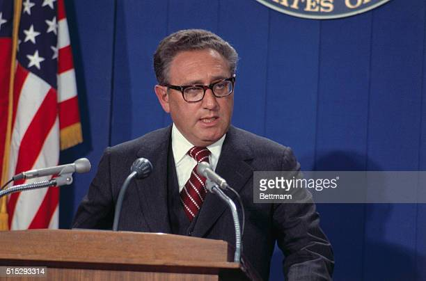 Secretary of State Henry Kissinger answered a question during a nationally televised news conference Kissinger said the United States was engaged in...