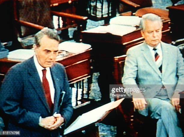 Sen Robert Dole and Sen Robert Byrd appear on television inside the US Senate chambers The Senate went live on national television Monday in a...