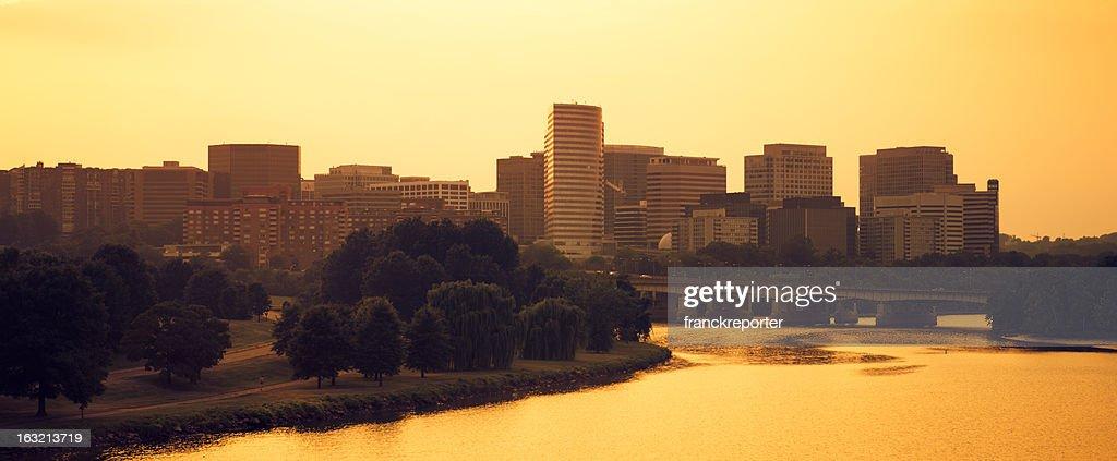 Washington Skyline at sunset from the Potomac river