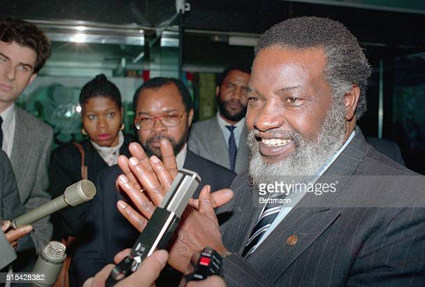 Southwest African Peoples Organization President Sam Nujoma speaks with reporters outside the State Department following a meeting with...