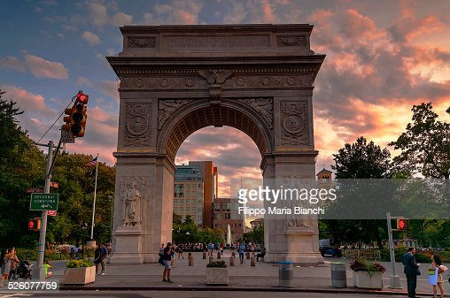 Washington Square Arch at sunset