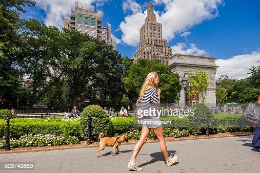 Washington Square, girl walking the dog