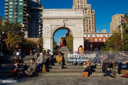 Washington Square park in autumn, New York, USA