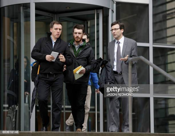 Washington State Attorney General Bob Ferguson exits US District Court following a hearing about US President Donald Trump's travel ban at the US...