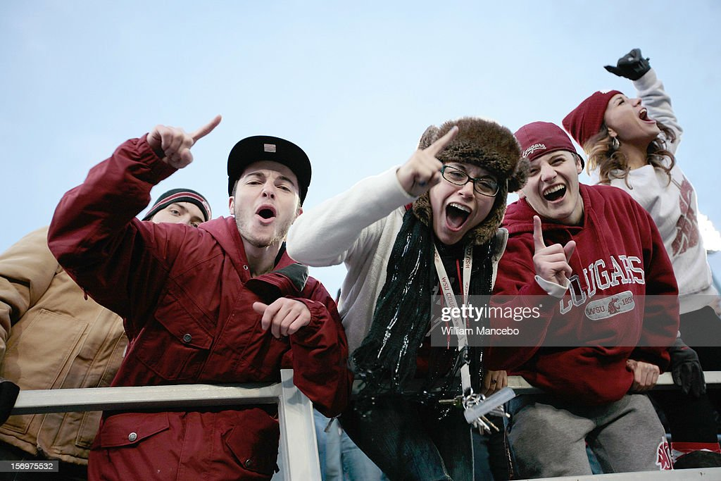 Washington State Cougars fans cheer during the Apple Cup game between the Washington Huskies and the Washington State Cougars at Martin Stadium on November 23, 2012 in Pullman, Washington.