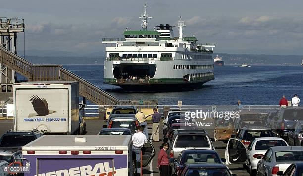 Washington State ferry pulls into Colman dock on June 26 2004 in Seattle Washington Random searches of cars recently started again after being...