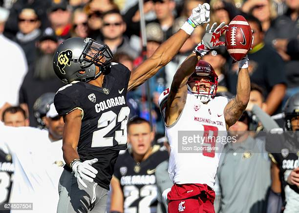 Washington State Gabe Marks comes up with a reception against Colorado Ahkello Witherspoon during an NCAA football game between the Washington State...