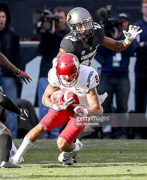 Washington State Gabe Marks comes up with a reception in front of Colorado Ahkello Witherspoon during an NCAA football game between the Washington...