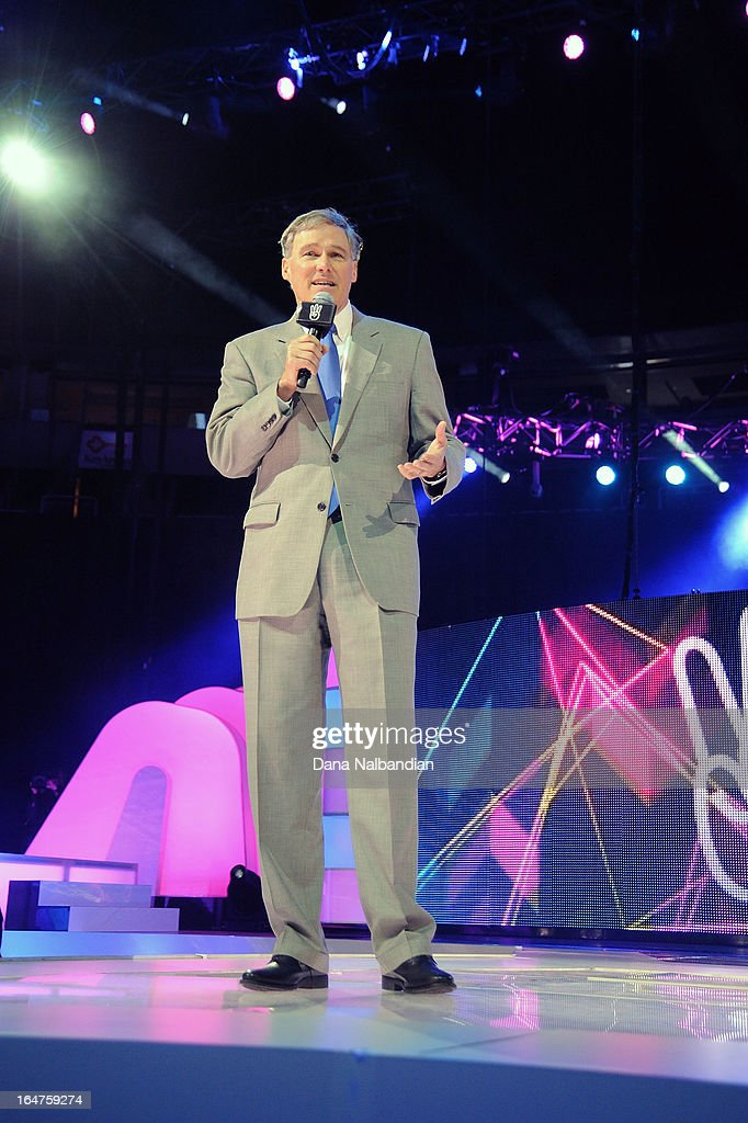 Washington State Governor, Jay Inslee, addresses 15,000 students at the first ever We Day in the U.S. on March 27, 2013 at KeyArena at Seattle Center.