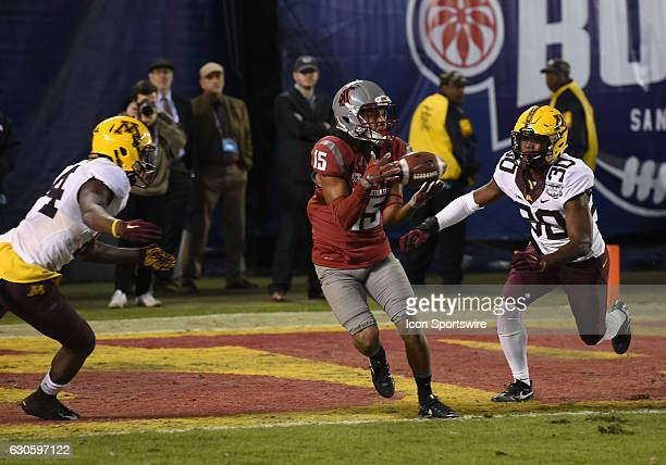 Washington State Robert Lewis catches the ball but fails to break the plane of the endzone denying Washington a two point conversion in the fourth...
