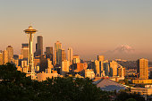 USA Washington State Seattle Kerry Park Seattle Skyline With Space Needle And Mt Rainier