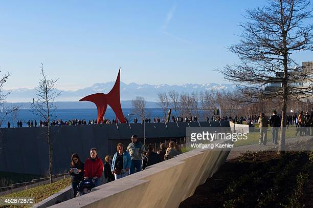 USA Washington State Seattle Olympic Sculpture Park View Of Eagle By Alexander Calder