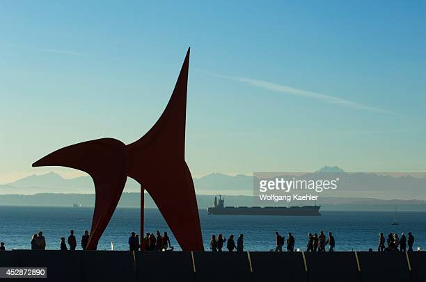 USA Washington State Seattle Olympic Sculpture Park View Of Eagle By Alexander Calder Olympic Mountains In Background