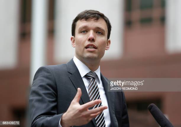 Washington state Solicitor General Noah Purcell speaks to media outside US Court of Appeals in Seattle Washington on May 15 2017 A US government...
