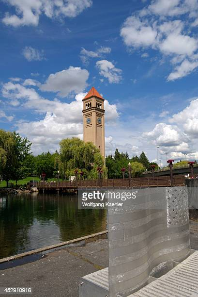 USA Washington State Spokane Riverfront Park Aluminum Bench Art Clock Tower In Background