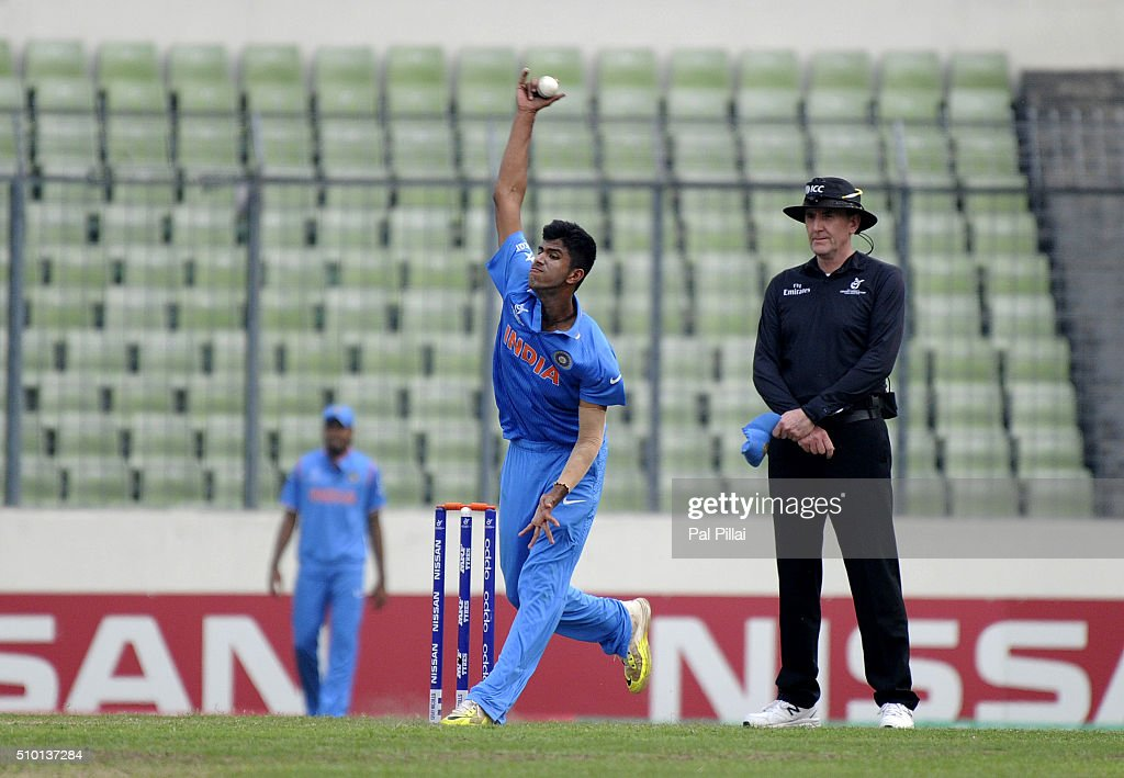 Washington Sundar of India bowls during the ICC U19 World Cup Final Match between India and West Indies on February 14, 2016 in Dhaka, Bangladesh.