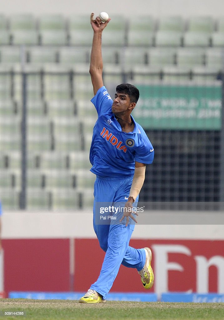 Washington Sundar of India bowls during the ICC U19 World Cup Semi-Final match between India and Sri Lanka on February 9, 2016 in Dhaka, Bangladesh.
